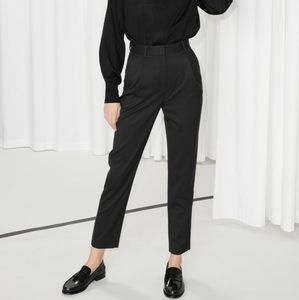 & Other Stories Black High Waisted Trousers